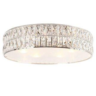 Okrągły plafon Diamante - chrom, kryształki