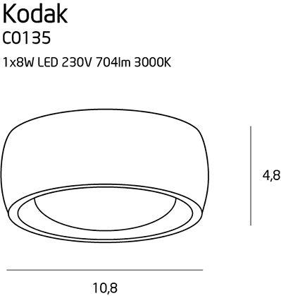 Nowoczesny plafon Kodak - mleczny klosz