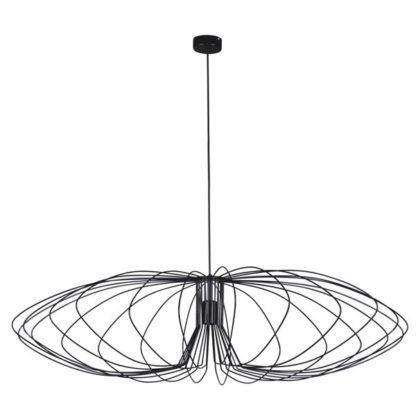 czarna duża lampa wisząca do salonu druciak