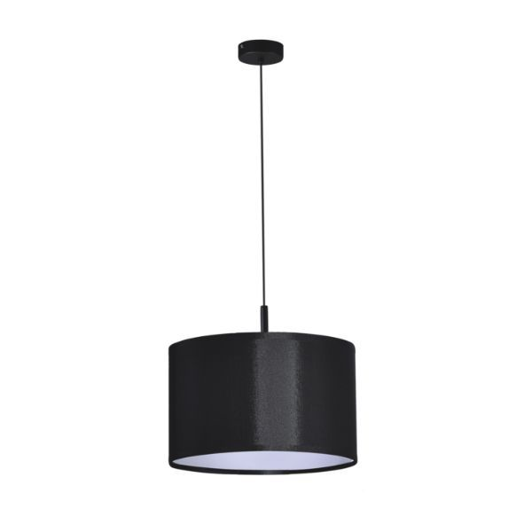 czarna lampa wisząca z abażurem salon
