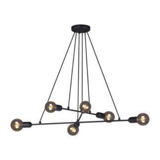 Lampa wisząca Sitya - czarna, 6 żarówek