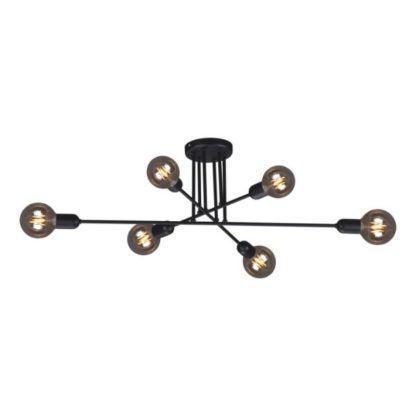 czarna lampa sufitowa bez kloszy