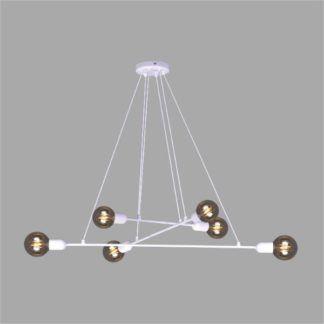 Biała lampa wisząca Sitya - 6 żarówek