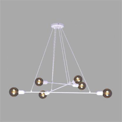biała lampa designerska nad stół