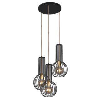 Lampa wisząca Arvi - czarna, druciane klosze