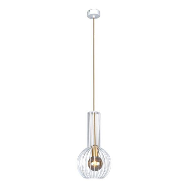 biała lampa wisząca z drucianym kloszem, złoty środek