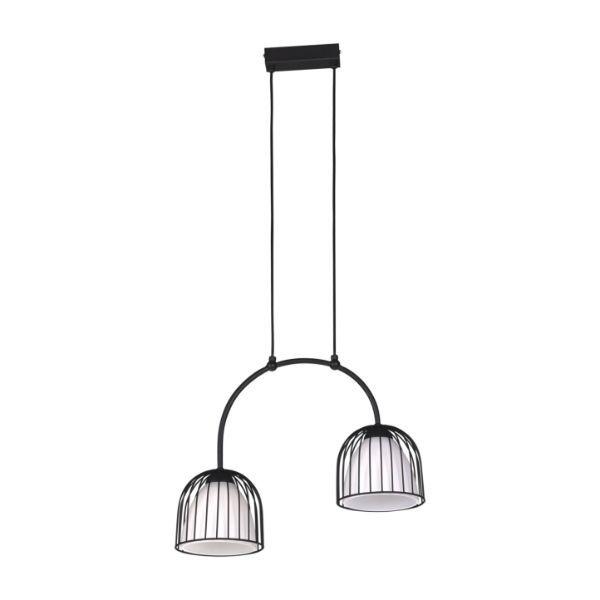 podwójna lampa wisząca druciak czarna