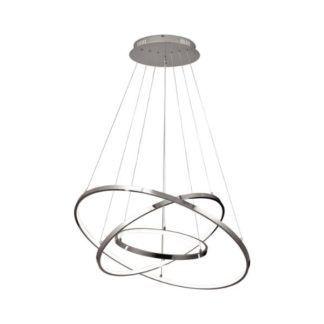 Srebrna lampa wisząca Diego - okręgi LED