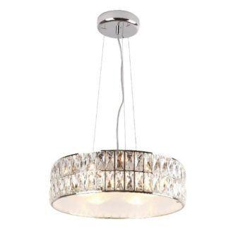 Okrągła lampa wisząca Diamante - chrom, kryształki