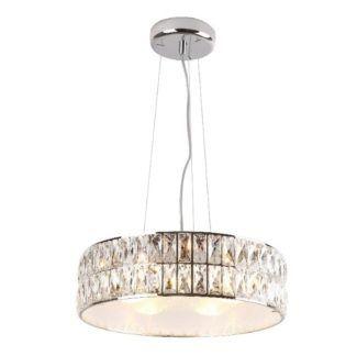 Efektowna lampa wisząca Diamante - okrągły klosz, kryształki