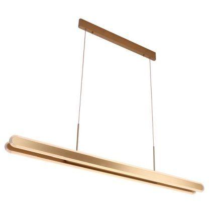 złota lampa wisząca led nad stół