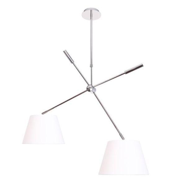 podwójna lampa wisząca z białymi abażurami