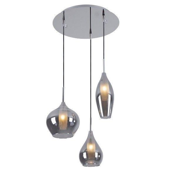 okrągła lampa wisząca z 3 kloszami ze szkła