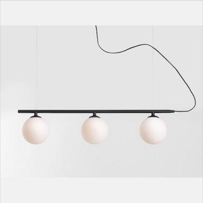 lampa czarna z białymi kulami