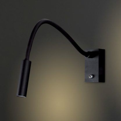 czarny metalowy kinkiet z giętką rączką