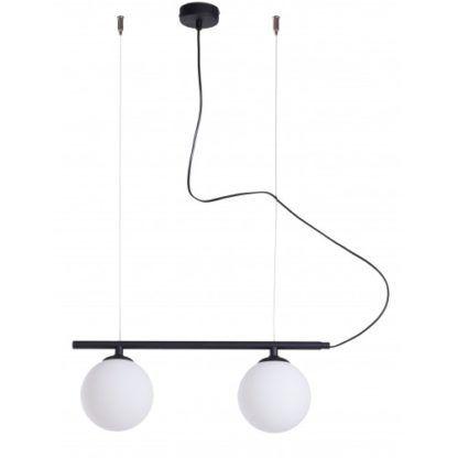 podłuzna lampa wisząca z kulami