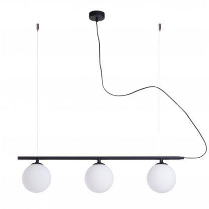 czarna lampa z 3 kulami
