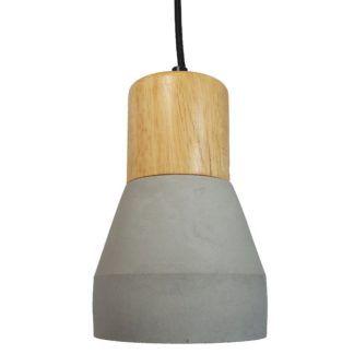 Betonowa lampa wisząca Concrete - szara - drewniany element
