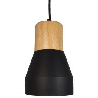 Betonowa lampa wisząca Concrete - czarna - drewniany element