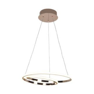 Złota lampa wisząca Ilusion - ringi, LED