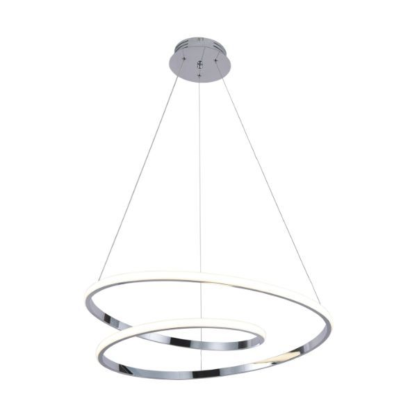 podłużna lampa wisząca led srebrna