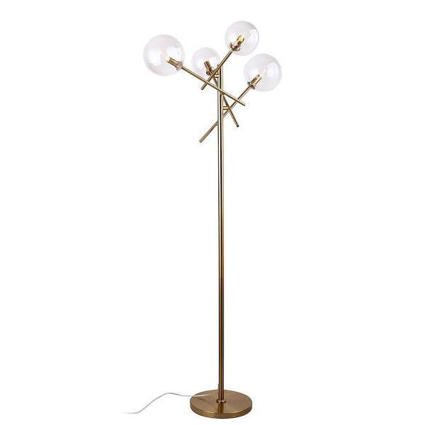 lampa podłogowa złota z kulami
