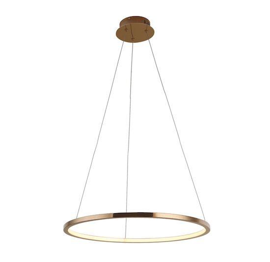 Lampa wisząca ciepły złoty ring LED Queen 3000K - 50cm