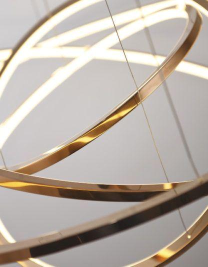 ledowe okręgi lampa wisząca złota