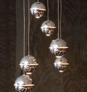 Elegancka lampa wisząca 6 kul LED Zen - srebrna