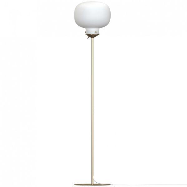 Złota lampa podłogowa Raito - Nordlux DFTP - szklany klosz