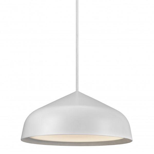 biała lampa wisząca z szerokim kloszem