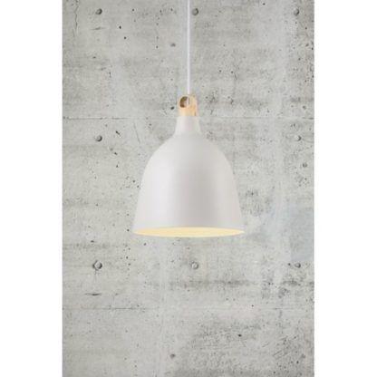 biała lampa wisząca dreniany element