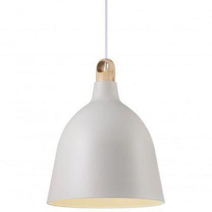metalowa lampa z drewnianym detalem