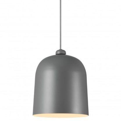 szara lampa wisząca metalowy klosz