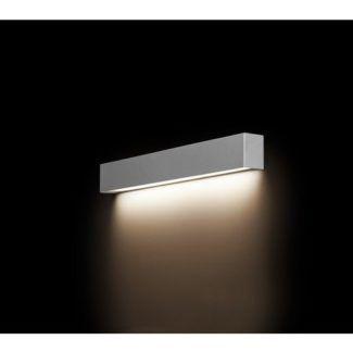 Srebrny kinkiet Straight S - podłużny, na świetlówkę