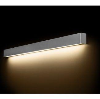 Srebrny kinkiet Straight L - na świetlówkę