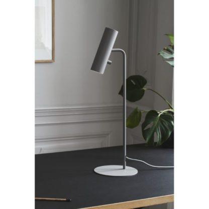 szara lampa biurkowa nowoczesna