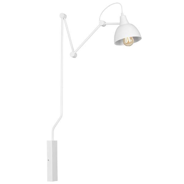 biała lampa ścienna długie ramię