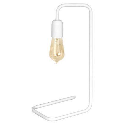 biała metalowa lampa stołowa