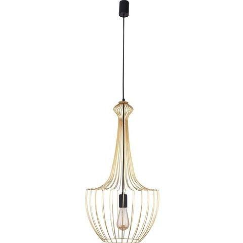 druciana lampa wisząca złoty klosz