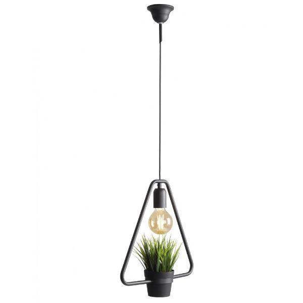 druciana lampa wisząca z doniczką