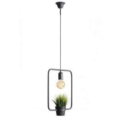 czarna lampa wisząca z doniczką