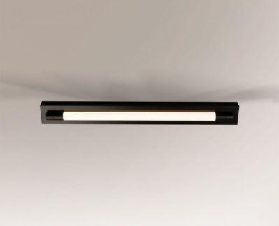 Cienka lampa sufitowa Aichi - czarna, duża IP44
