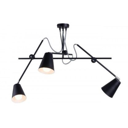 czarna lampa wisząca regulowane klosze