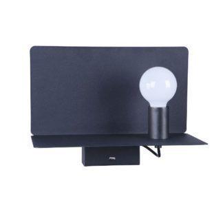 Nowoczesny kinkiet Rack - czarny, port USB