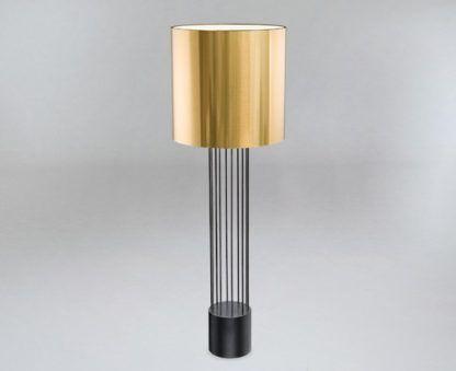 lampa podłogowa ze złotym abażurem