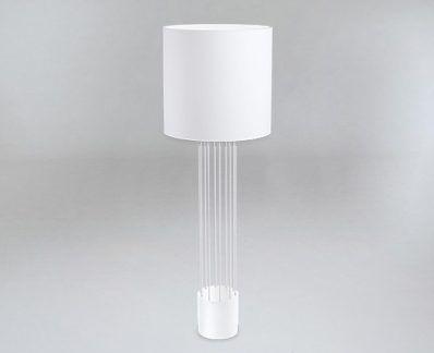Lampa podłogowa IHI biała z druciana podstawą
