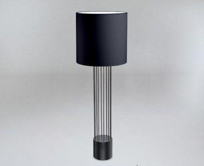 czarna lampa podłogowa duży abażur