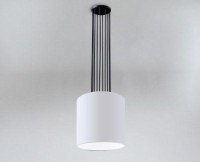 Lampa wisząca IHI biały abażur - czarne zawieszenie