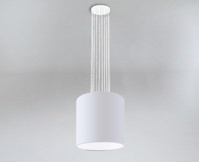 Lampa wisząca IHI druciana biała z białym abażurem